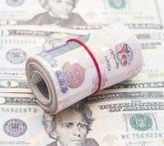 Libras egípcias do rolo em dólares americanos Imagens de Stock Royalty Free