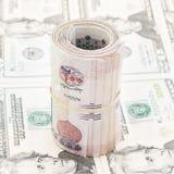 Libras egípcias do rolo em dólares americanos, mercado de troca Imagens de Stock