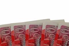 Libras esterlinas de los billetes de banco £50 foto de archivo libre de regalías