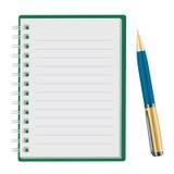 Libreta abierta con la pluma Fotografía de archivo libre de regalías
