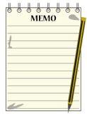 Libreta alineada de la nota con el lápiz Fotografía de archivo