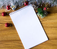 Libreta blanca Feliz Año Nuevo Foto de archivo