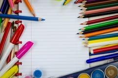 Libreta con la pluma colorida Imagenes de archivo