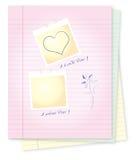 Libreta con los mensajes del amor Fotografía de archivo libre de regalías