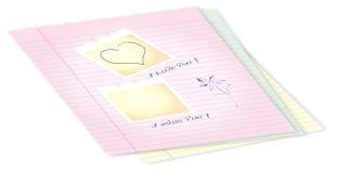 Libreta con los mensajes del amor Imagen de archivo libre de regalías