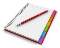 Libreta de la oficina con el bolígrafo Fotos de archivo