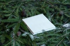 Libreta en blanco en ramas de árbol de navidad Concepto del planeamiento del Año Nuevo foto de archivo