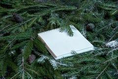 Libreta en blanco en ramas de árbol de navidad Concepto del planeamiento del Año Nuevo imagen de archivo libre de regalías