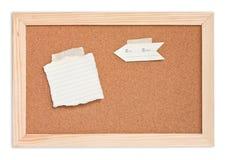 Libreta en tarjeta del corcho Imagenes de archivo