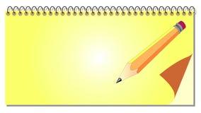 Libreta espiral con el lápiz ilustración del vector