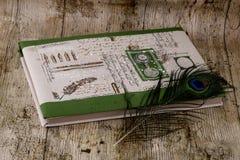 Libreta para bosquejar y poner un pavo real Fotos de archivo