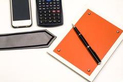 Libreta y accesorios en blanco para los hombres de negocios Imagen de archivo