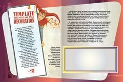 Libretto del modello di vettore L'arlecchino annuncia i vostri prodotti Fotografia Stock Libera da Diritti