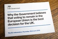 Libretto di governo del referendum di UE Fotografie Stock Libere da Diritti