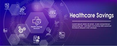 Libretto di risparmio medico di salute dell'insegna di intestazione di web di risparmio di imposta o illustrazione di stock
