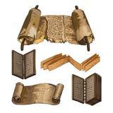 Libri antichi Papiro, un libro di legno Scrittura della gente antica Immagini Stock Libere da Diritti
