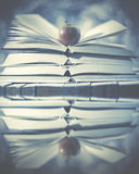 Libri aperti con la mela su e riflessa in acqua Storia di inverno Immagine Stock