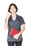 Libri asiatici della tenuta del supporto delle donne Immagine Stock Libera da Diritti