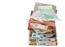 Libri con i soldi Fotografia Stock Libera da Diritti