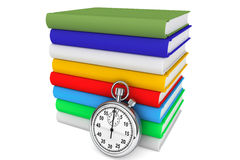 Libri con il cronometro illustrazione di stock