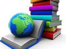 Libri con il globo Fotografia Stock