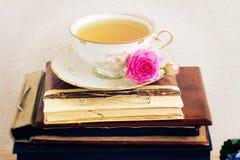 Libri con la tazza di tè Immagini Stock Libere da Diritti