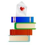 Libri con una nota di amore Immagini Stock Libere da Diritti