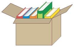 Libri della libro con copertina rigida in una casella Fotografia Stock