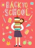 Libri della tenuta della scolara del fumetto royalty illustrazione gratis