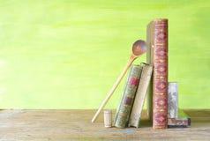 Libri di cucina d'annata, Fotografia Stock
