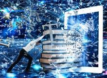 Libri di lettura con un libro elettronico e Internet Fotografie Stock