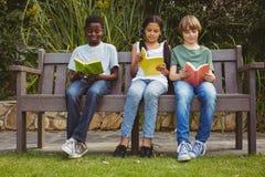 Libri di lettura dei bambini al parco fotografia stock libera da diritti