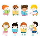 Libri di lettura dei bambini per l'insieme di vettore di istruzione Immagine Stock Libera da Diritti