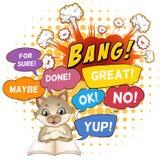 Libri di lettura del gattino con le parole di espressione Fotografie Stock Libere da Diritti