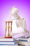 Libri di lettura di scheletro contro la pendenza Immagini Stock