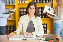 Libri di With Pencil And della studentessa all'istituto universitario Fotografia Stock Libera da Diritti