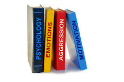Libri di psicologia su fondo bianco Fotografie Stock Libere da Diritti