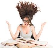 Libri di studio stressanti Fotografia Stock