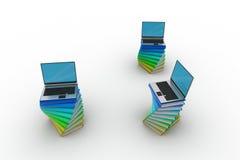 Libri e computer portatile Fotografia Stock