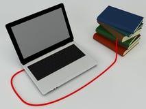 Libri e computer portatile multicolori Fotografia Stock