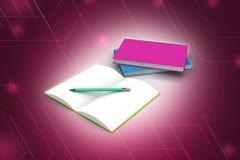 Libri e matita, concetto di istruzione Fotografia Stock Libera da Diritti