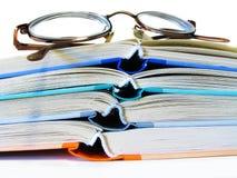Libri e vetri Fotografia Stock