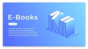 Libri elettronici Concetto isometrico della biblioteca elettronica moderna dei libri Fotografia Stock Libera da Diritti
