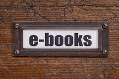 Libri elettronici - etichetta del gabinetto di archivio Fotografie Stock Libere da Diritti