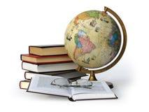 Libri globo e vetri Immagine Stock