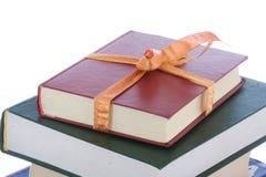Libri in imballaggio del regalo isolato su un bianco Fotografie Stock Libere da Diritti