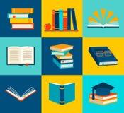 Libri messi nello stile piano di progettazione Immagine Stock