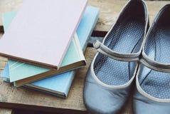 Libri nei colori pastelli e retro scarpe piane-soled grige sulla plancia di legno Fotografia Stock Libera da Diritti