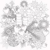 Libri per bambini di coloritura con l'illustrazione decorativa floreale decorativa degli elementi Fotografie Stock