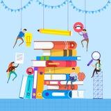 Libri piani di concetto di progetto Istruzione ed imparare con i libri illustrazione di stock